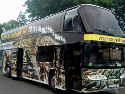 Auschwitz families furious! Tour firm uses bus with images of real victims
